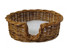 Rattan Dog Basket - Small (59cm) - With Fitted PnH Veterinary Bedding ®
