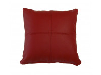 Real Leather Scatter Cushion - Small 37cm x 37cm - Red - COMPLETE WITH HOLLOW FIBRE FILLED INNER