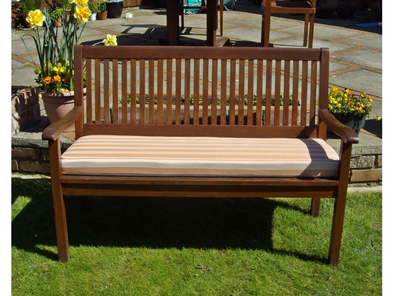 Garden Bench Cushion - Terracotta Stripe