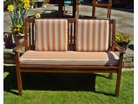 Garden Bench Cushion Set Including Back Pads - Terracotta Stripe