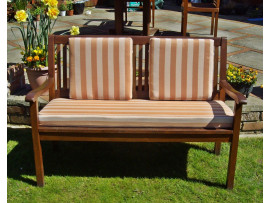 Garden Bench Cushion Set Including Back Pads - Terracotta Stripe