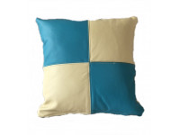 Real Leather Scatter Cushion - Small 37cm x 37cm - Cream and Turquoise - COMPLETE WITH HOLLOW FIBRE FILLED INNER