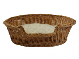 Wicker Dog Basket - Small (60cm) - With Cosy Sherpa Fleece Cushion
