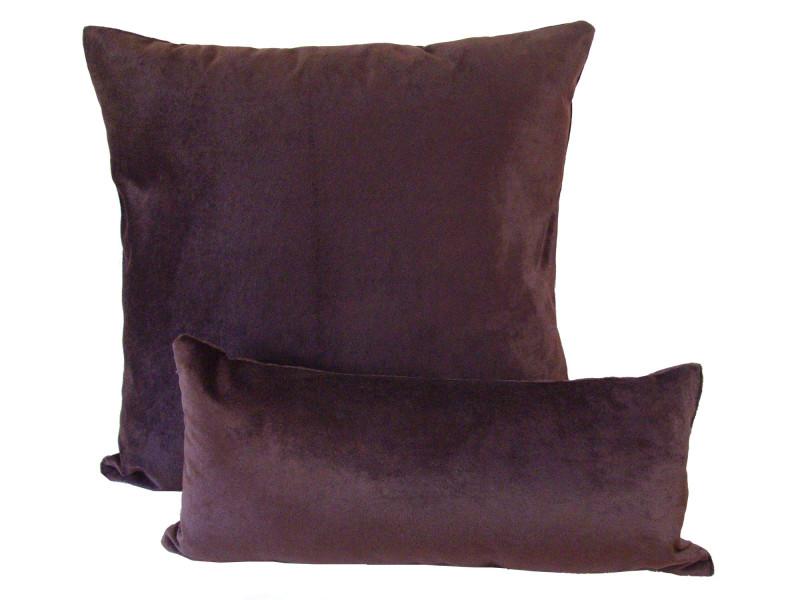 Wine Red Velour - Cushion & Bolster Set